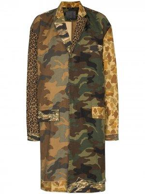 Пальто Shredded с принтом R13. Цвет: зеленый