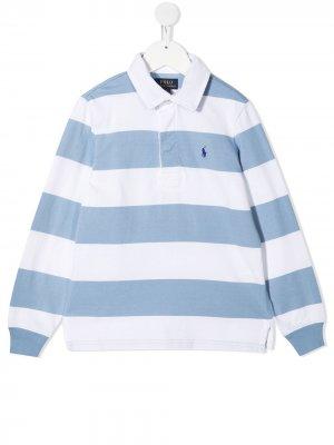 Полосатая рубашка поло с вышивкой Polo Pony Ralph Lauren Kids. Цвет: синий