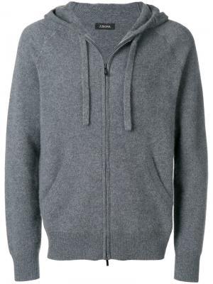 Cashmere hoodie Z Zegna. Цвет: серый