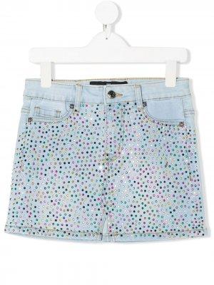 Джинсовая юбка с кристаллами John Richmond Junior. Цвет: синий