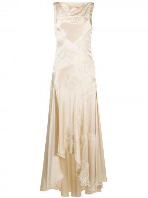 Платье макси с сетчатыми вставками Antonio Marras. Цвет: нейтральные цвета