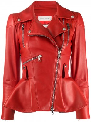 Байкерская куртка с баской Alexander McQueen. Цвет: красный