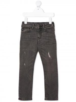 Прямые джинсы с эффектом потертости Emporio Armani Kids. Цвет: серый