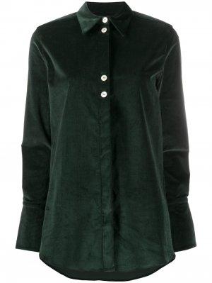 Рубашка с контрастными пуговицами Victoria Beckham. Цвет: зеленый