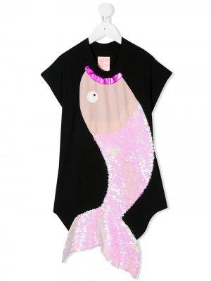 Платье Nova Splash с вышивкой пайетками WAUW CAPOW by BANGBANG. Цвет: черный