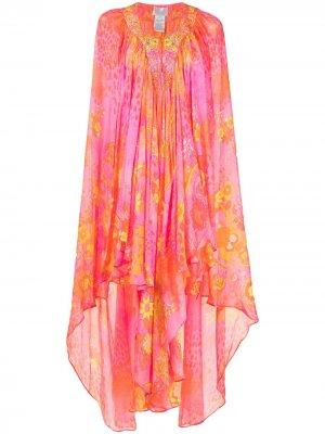 Длинное платье с кейпом Camilla. Цвет: оранжевый