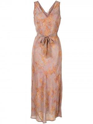 Платье с поясом и V-образным вырезом Mes Demoiselles. Цвет: коричневый