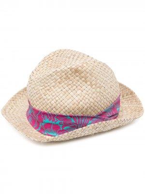 Соломенная шляпа-федора PAUL SMITH. Цвет: нейтральные цвета