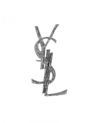 Ушной кафф с логотипом Saint Laurent. Цвет: металлик