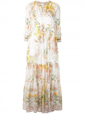 Платье со вставками и цветочным принтом Camilla. Цвет: белый