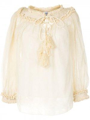 Декорированная блузка Oscar de la Renta. Цвет: желтый