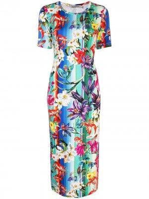 Платье в полоску с цветочным принтом Mary Katrantzou. Цвет: разноцветный