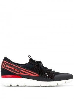 Кроссовки с логотипом на ремешке Baldinini. Цвет: черный