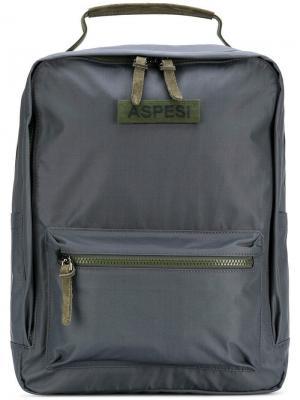 Zip pocket backpack Aspesi. Цвет: серый