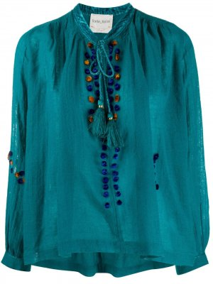 Блузка свободного кроя с кисточками Forte. Цвет: зеленый