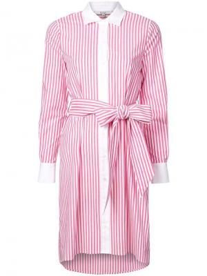 Платье-рубашка в полоску Badgley Mischka. Цвет: розовый
