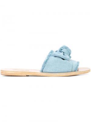 Джинсовые шлепанцы Taygete Ancient Greek Sandals. Цвет: синий