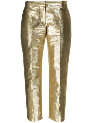 Прямые брюки с эффектом металлик Alexander McQueen. Цвет: золотистый