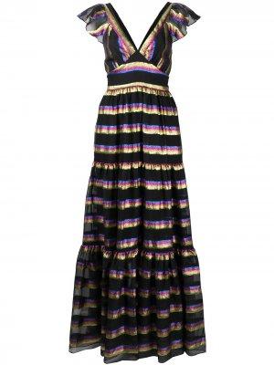 Ярусное платье макси Melina Temperley London. Цвет: черный