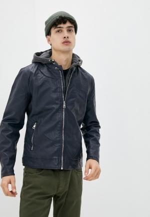 Куртка кожаная Tony Backer. Цвет: синий