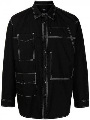 Джинсовая рубашка с контрастной строчкой FIVE CM. Цвет: черный