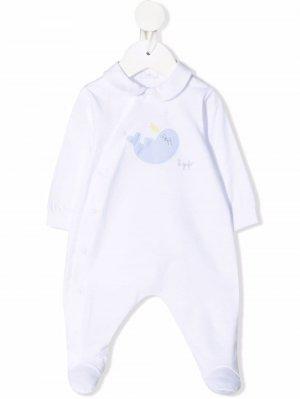 Пижама с длинными рукавами и вышивкой Il Gufo. Цвет: белый