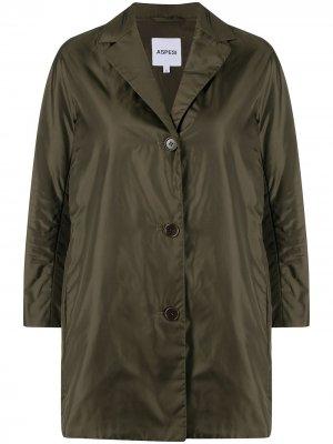 Однобортная куртка с укороченными рукавами Aspesi. Цвет: зеленый