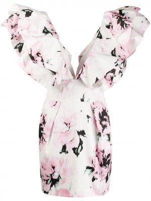 Платье мини с цветочным принтом Alexandre Vauthier. Цвет: розовый