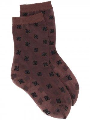 Прозрачные носки Fendi. Цвет: коричневый