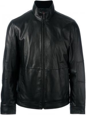 Кожаная куртка на молнии Michael Kors. Цвет: черный