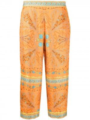 Укороченные брюки с абстрактным принтом Emilio Pucci. Цвет: оранжевый