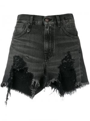Состаренные джинсовые шорты R13. Цвет: черный