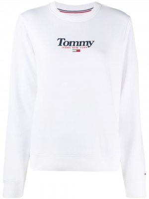 Толстовка с круглым вырезом и логотипом Tommy Jeans. Цвет: белый