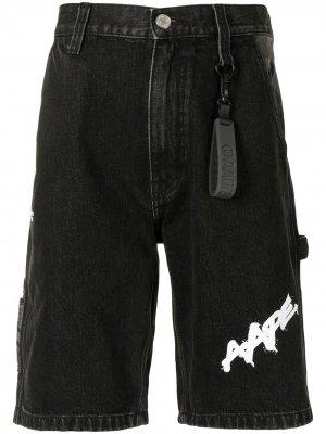 Джинсовые шорты AAPE BY *A BATHING APE®. Цвет: черный