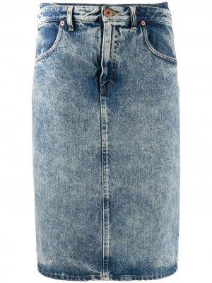 Джинсовая юбка миди прямого кроя Maison Margiela. Цвет: черный