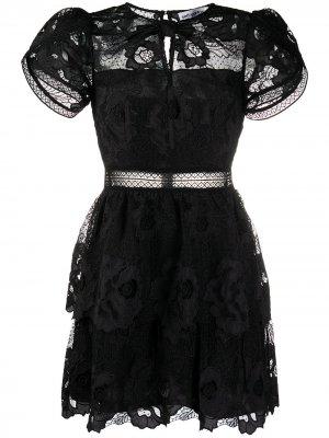 Коктейльное платье из цветочного кружева Self-Portrait. Цвет: черный