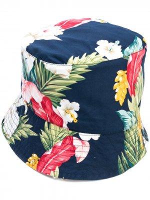 Поплиновая панама с принтом Engineered Garments. Цвет: синий