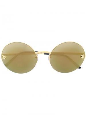 Круглые солнцезащитные очки Panther Cartier. Цвет: металлик