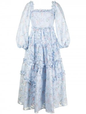 Платье Summer Blossom с оборками Needle & Thread. Цвет: синий