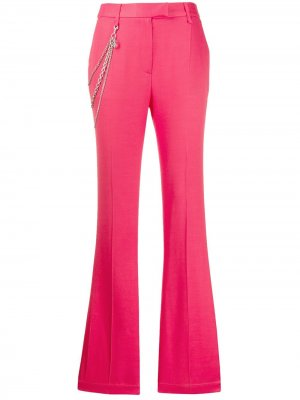 Расклешенные брюки с цепочкой Just Cavalli. Цвет: розовый