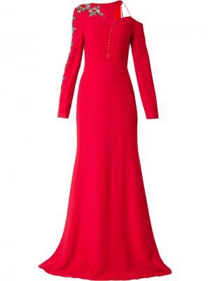 Асимметричное платье с отделкой Antonio Berardi. Цвет: красный