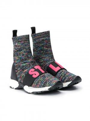 Кроссовки-носки с логотипом Stella McCartney Kids. Цвет: черный