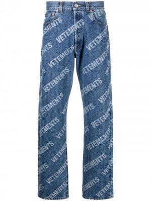 Зауженные джинсы с логотипом VETEMENTS. Цвет: синий