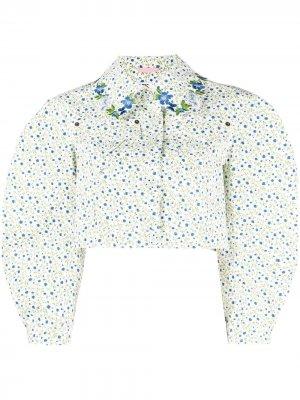 Укороченная куртка с цветочным принтом Vivetta. Цвет: белый