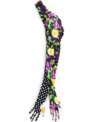 Перчатки с цветочным узором и в горох Richard Quinn. Цвет: черный