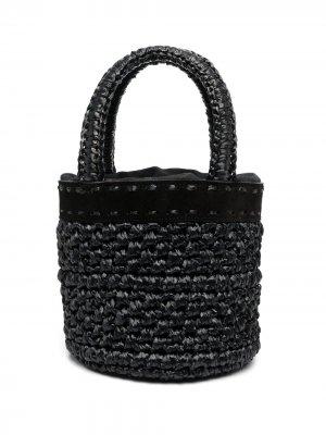 Плетеная сумка-корзина catarzi. Цвет: черный