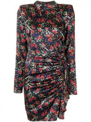 Платье с цветочным принтом и сборками Veronica Beard. Цвет: разноцветный