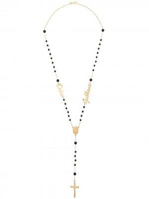 Колье с кулоном в форме креста Dolce & Gabbana. Цвет: золотистый