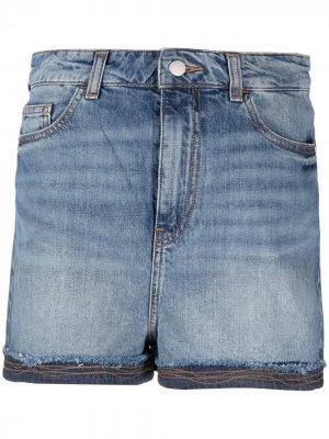 Джинсовые шорты с завышенной талией Emporio Armani. Цвет: синий