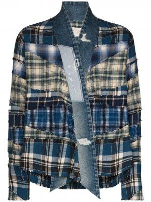 Джинсовая куртка-кимоно в клетку Greg Lauren. Цвет: синий